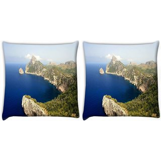 Snoogg Pack Of 2 Blue Water Mountain Digitally Printed Cushion Cover Pillow 10 x 10 Inch
