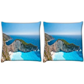 Snoogg Pack Of 2 Blue Water Near Mountain Digitally Printed Cushion Cover Pillow 10 x 10 Inch