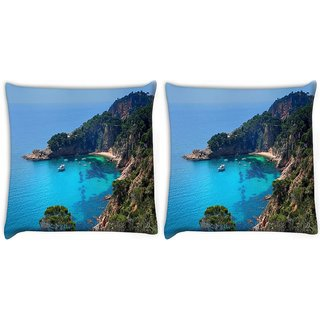 Snoogg Pack Of 2 Boats On Sea Digitally Printed Cushion Cover Pillow 10 x 10 Inch