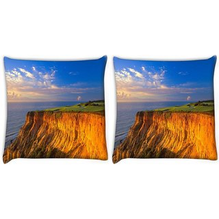 Snoogg Pack Of 2 Sky View From The Mountain Digitally Printed Cushion Cover Pillow 10 x 10 Inch