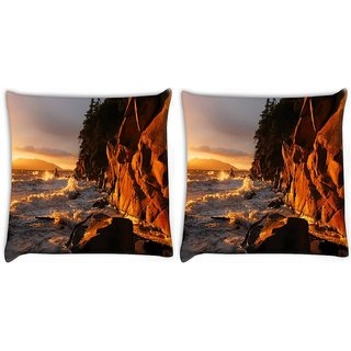 Snoogg Pack Of 2 Rocks On The Sea Waves Digitally Printed Cushion Cover Pillow 10 x 10 Inch