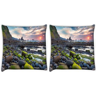 Snoogg Pack Of 2 Green Pebble Stone Digitally Printed Cushion Cover Pillow 10 x 10 Inch