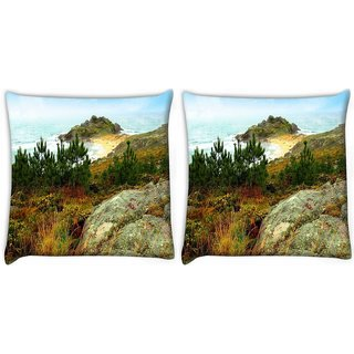Snoogg Pack Of 2 Small Grass On Mountain Digitally Printed Cushion Cover Pillow 10 x 10 Inch