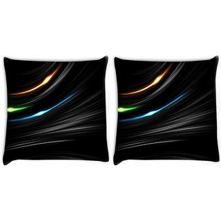 Snoogg Pack Of 2 Multicolor In Black Digitally Printed Cushion Cover Pillow 10 x 10 Inch