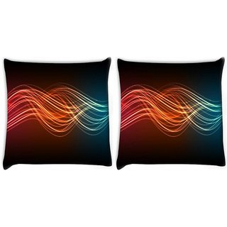 Snoogg Pack Of 2 Abstract Neon Pattern Design Digitally Printed Cushion Cover Pillow 10 x 10 Inch