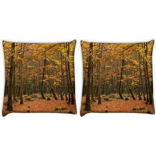 Snoogg Pack Of 2 Yellow Leaves Digitally Printed Cushion Cover Pillow 10 x 10 Inch