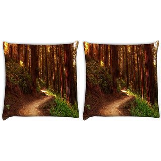 Snoogg Pack Of 2 Red Forest Digitally Printed Cushion Cover Pillow 10 x 10 Inch