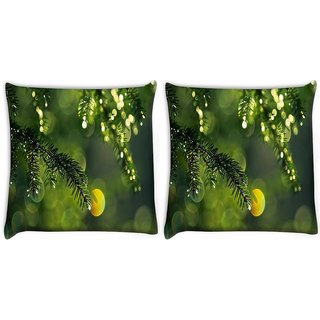 Snoogg Pack Of 2 Dew Drops In Trees Digitally Printed Cushion Cover Pillow 10 x 10 Inch