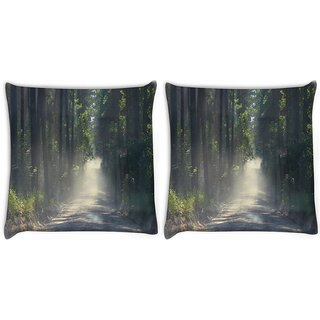 Snoogg Pack Of 2 Dense Road Digitally Printed Cushion Cover Pillow 10 x 10 Inch