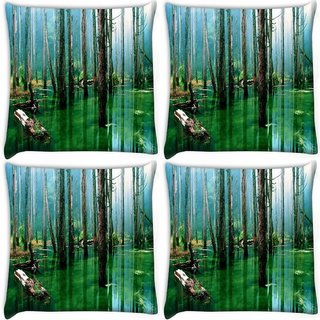 Snoogg Pack Of 4 Green Water Digitally Printed Cushion Cover Pillow 10 x 10 Inch