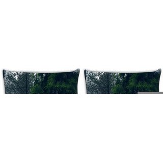 Snoogg Pack Of 4 Red Road Forest Digitally Printed Cushion Cover Pillow 10 x 10 Inch