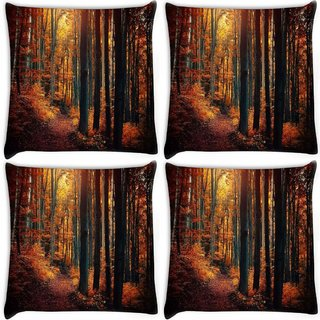 Snoogg Pack Of 4 Red Forest Digitally Printed Cushion Cover Pillow 10 x 10 Inch