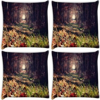 Snoogg Pack Of 4 Abstract Grass Digitally Printed Cushion Cover Pillow 10 x 10 Inch