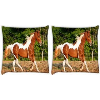 Snoogg Pack Of 2 Single Horse Running Digitally Printed Cushion Cover Pillow 10 x 10 Inch
