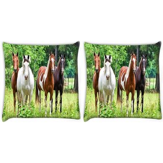 Snoogg Pack Of 2 Variety Of Horses Digitally Printed Cushion Cover Pillow 10 x 10 Inch