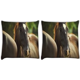 Snoogg Pack Of 2 Black Horse Digitally Printed Cushion Cover Pillow 10 x 10 Inch