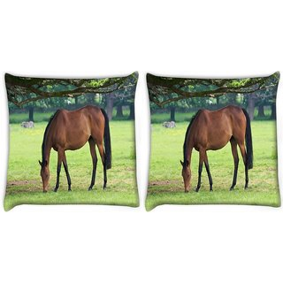 Snoogg Pack Of 2 Brown Horse Digitally Printed Cushion Cover Pillow 10 x 10 Inch