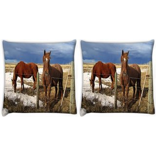 Snoogg Pack Of 2 Black Parental Horse Digitally Printed Cushion Cover Pillow 10 x 10 Inch