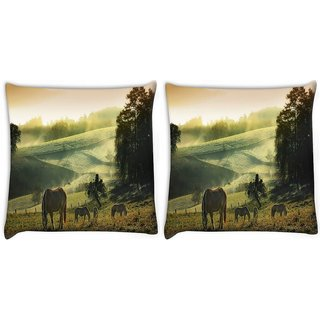 Snoogg Pack Of 2 Loving Horse Digitally Printed Cushion Cover Pillow 10 x 10 Inch