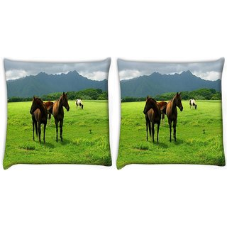 Snoogg Pack Of 2 White Horses Digitally Printed Cushion Cover Pillow 10 x 10 Inch