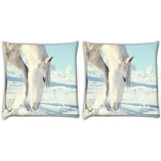 Snoogg Pack Of 2 White Snow Horse Digitally Printed Cushion Cover Pillow 10 x 10 Inch