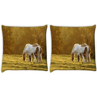 Snoogg Pack Of 2 Colorful White Horse Digitally Printed Cushion Cover Pillow 10 x 10 Inch