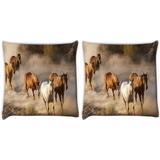 Snoogg Pack Of 2 Running Horses Digitally Printed Cushion Cover Pillow 10 x 10 Inch