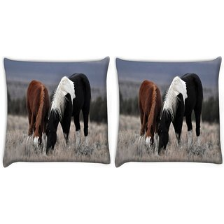 Snoogg Pack Of 2 Black And Brown Horse Digitally Printed Cushion Cover Pillow 10 x 10 Inch