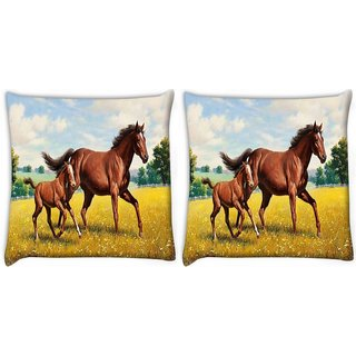 Snoogg Pack Of 2 Parental Horse Digitally Printed Cushion Cover Pillow 10 x 10 Inch