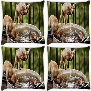 Snoogg Pack Of 4 Monkey And Water Digitally Printed Cushion Cover Pillow 10 x 10 Inch