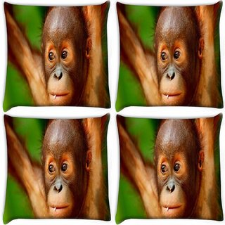 Snoogg Pack Of 4 Baby Chimpanese Digitally Printed Cushion Cover Pillow 10 x 10 Inch
