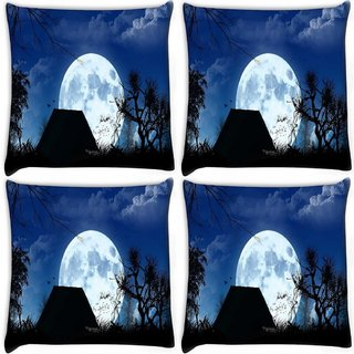 Snoogg Pack Of 4 White Moon Digitally Printed Cushion Cover Pillow 10 x 10 Inch