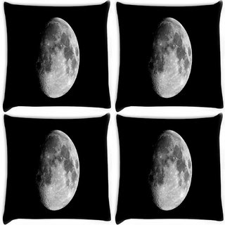 Snoogg Pack Of 4 Abstract Grey Moon Digitally Printed Cushion Cover Pillow 10 x 10 Inch