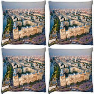 Snoogg Pack Of 4 White Big Palace Digitally Printed Cushion Cover Pillow 10 x 10 Inch