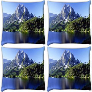 Snoogg Pack Of 4 White Mountains And Trees Digitally Printed Cushion Cover Pillow 10 x 10 Inch