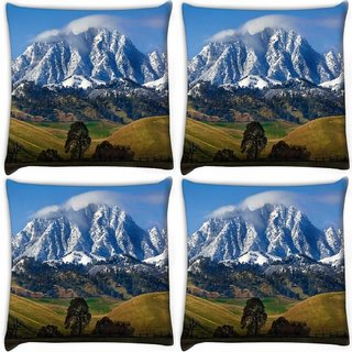 Snoogg Pack Of 4 White Mountain Top Digitally Printed Cushion Cover Pillow 10 x 10 Inch