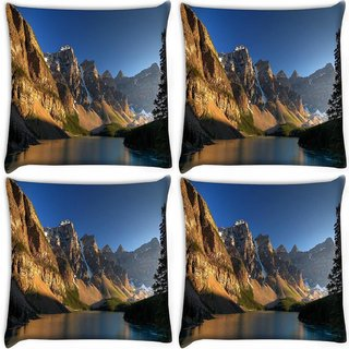 Snoogg Pack Of 4 Brown Mountain Digitally Printed Cushion Cover Pillow 10 x 10 Inch