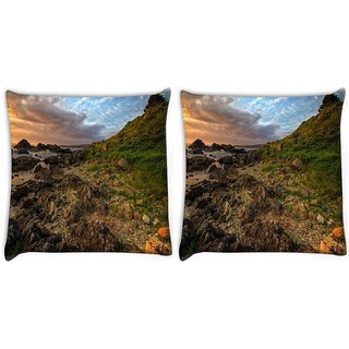 Snoogg Pack Of 2 Brown Rocks Digitally Printed Cushion Cover Pillow 10 x 10 Inch