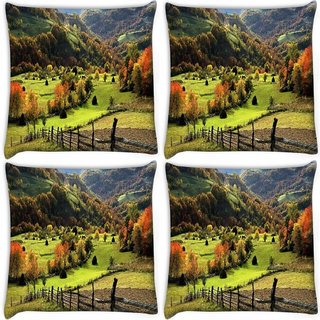 Snoogg Pack Of 4 Orange Small Trees Digitally Printed Cushion Cover Pillow 10 x 10 Inch