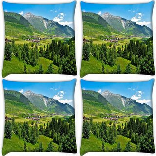Snoogg Pack Of 4 Green Trees Digitally Printed Cushion Cover Pillow 10 x 10 Inch