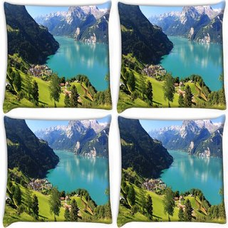 Snoogg Pack Of 4 Light Blue Water Digitally Printed Cushion Cover Pillow 10 x 10 Inch