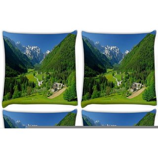 Snoogg Pack Of 4 Abstract Natuer Digitally Printed Cushion Cover Pillow 10 x 10 Inch