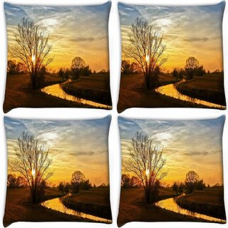 Snoogg Pack Of 4 Tree With No Leaves Digitally Printed Cushion Cover Pillow 10 x 10 Inch