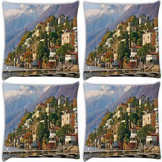 Snoogg Pack Of 4 Yellow Building Digitally Printed Cushion Cover Pillow 10 x 10 Inch