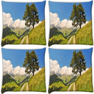 Snoogg Pack Of 4 Small Way In Garden Digitally Printed Cushion Cover Pillow 10 x 10 Inch