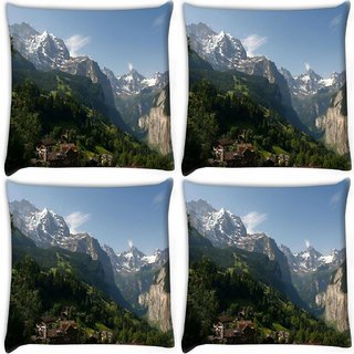 Snoogg Pack Of 4 Abstract Nature View Digitally Printed Cushion Cover Pillow 10 x 10 Inch