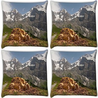 Snoogg Pack Of 4 Wood Cut Digitally Printed Cushion Cover Pillow 10 x 10 Inch