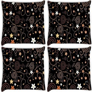 Snoogg Pack Of 4 Abstract Colorful Flowers Digitally Printed Cushion Cover Pillow 10 x 10 Inch