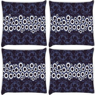 Snoogg Pack Of 4 White Circles Digitally Printed Cushion Cover Pillow 10 x 10 Inch