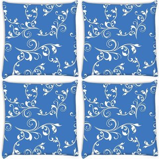 Snoogg Pack Of 4 White Heart With Pearls Digitally Printed Cushion Cover Pillow 10 x 10 Inch